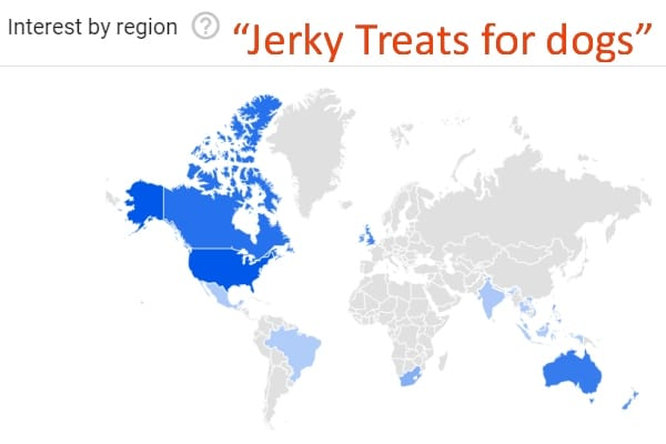 GLOBAL map Google interest in Jerky Treats for dogs