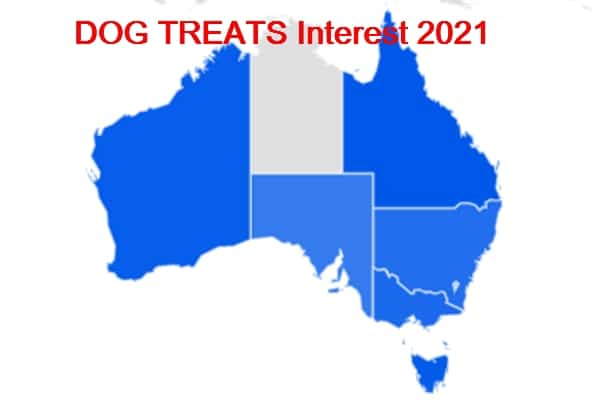 Australia Dog Treat interest by State 2021