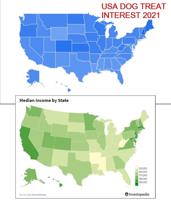 USA dog treat interest 2021 Versus Median income 2021